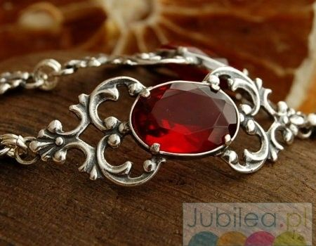 Ravena - srebrna bransoletka z rubinem