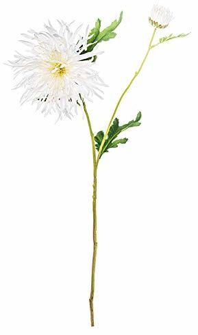 EUROCINSA Ref.92520C01 CRISANTEMO białe i zielone liście, pudełko z 12 sztukami, 73 cm