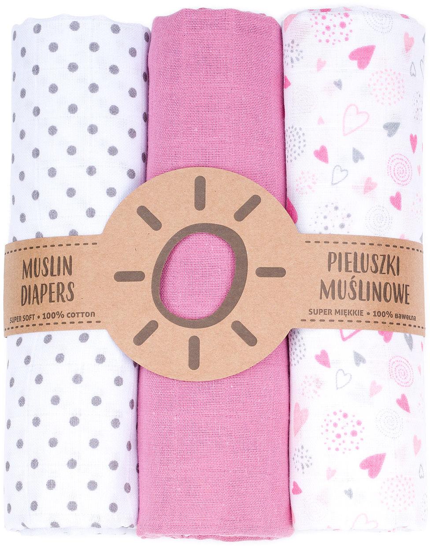 MAMO-TATO Pieluszki muślinowe dla niemowląt 3szt 80x80 + myjka - 19