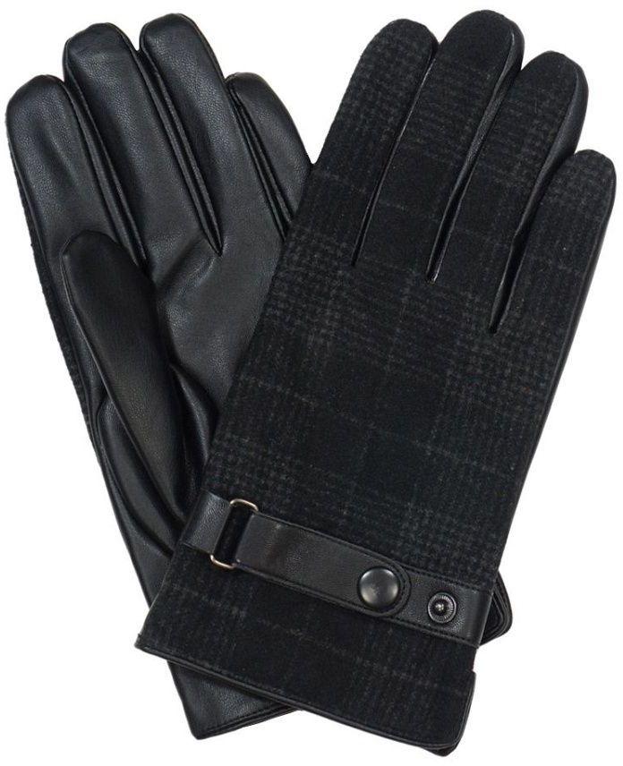 Czarne Męskie Eleganckie Rękawiczki -Pako Jeans- w Kratkę, Materiałowe-Wstawki Skóropodobne RKWPJNSMESKIE9