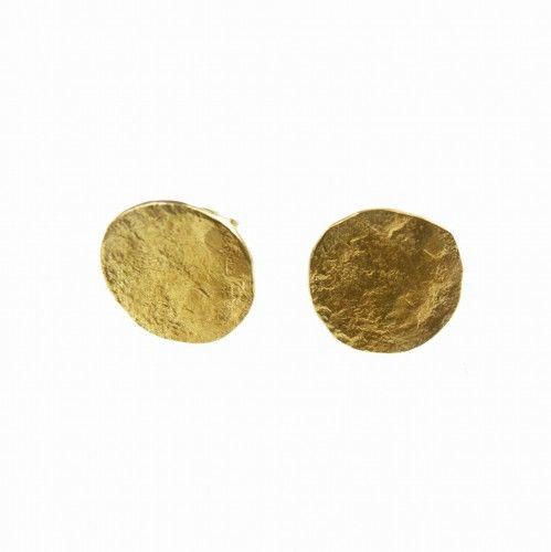 Pełnia księżyca złota - kolczyki mini na sztyftach