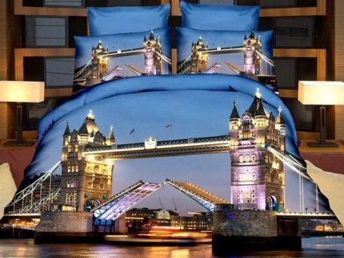 Pościel 3D - Tower Bridge Lodnyn - 200x200 + Prześcieradło