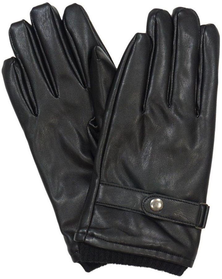 Czarne Skóropodobne Męskie Eleganckie Rękawiczki -Pako Jeans- Jesienno-Zimowe, ze Ściągaczem RKWPJNSMESKIE8