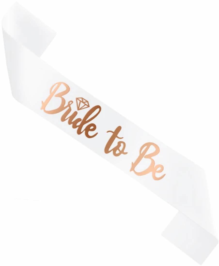 Biała szarfa z napisem Bride to be - 1 szt.