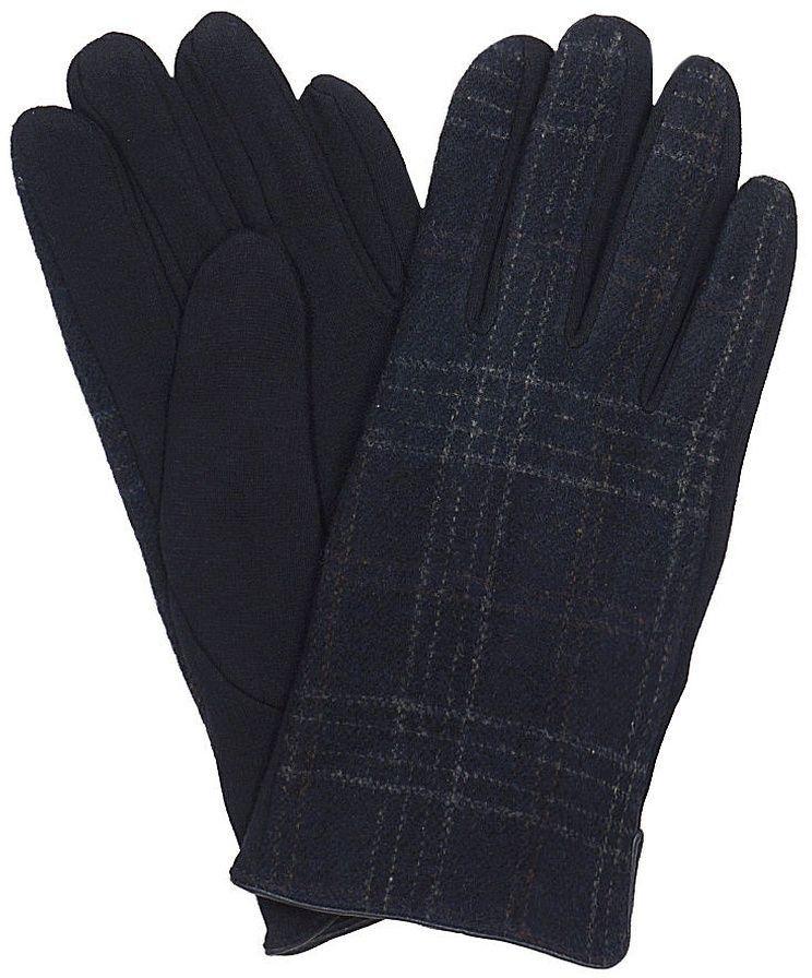Granatowe Materiałowe Męskie Eleganckie Rękawiczki -Pako Jeans- Jesienno-Zimowe, w Kratkę RKWPJNSMESKIE6