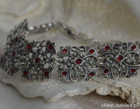 Cesarta - srebrna bransoletka z rubinem i perłami