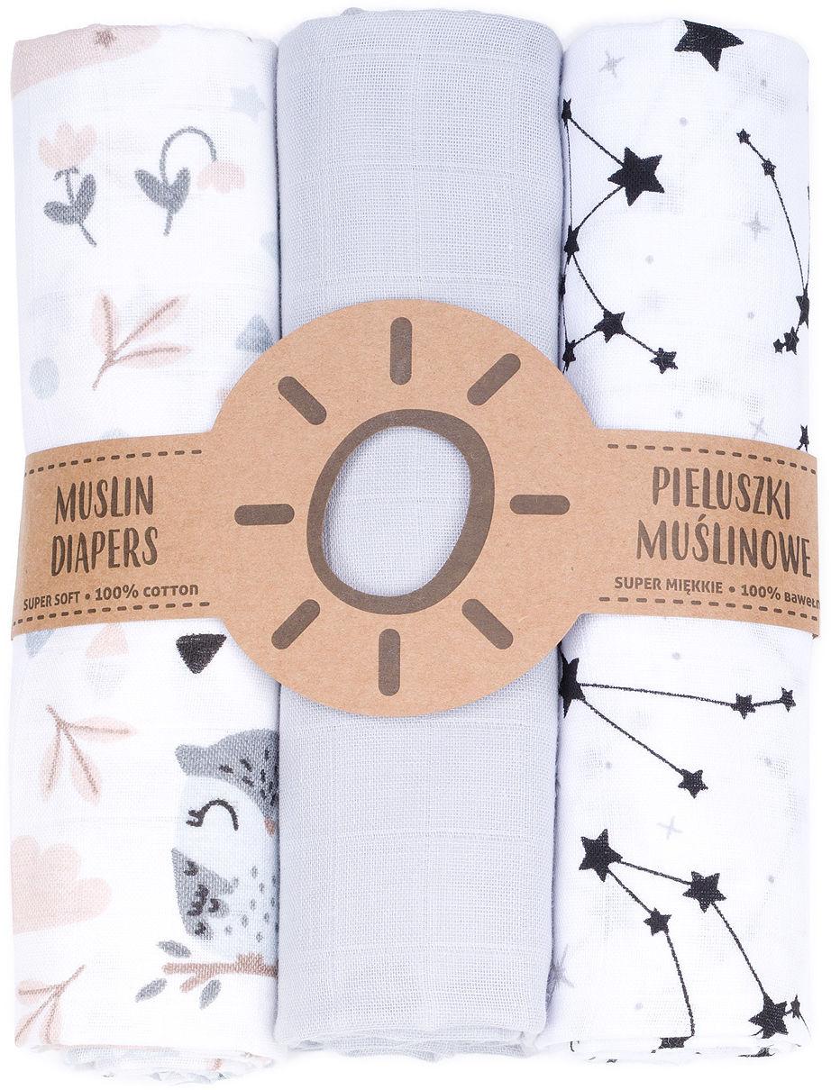 MAMO-TATO Pieluszki muślinowe dla niemowląt 3szt 80x80 + myjka - 22