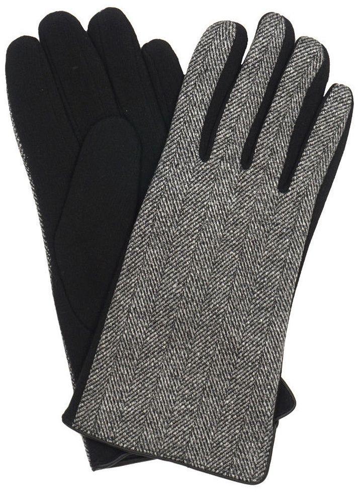 Szaro-Czarne Materiałowe Męskie Eleganckie Rękawiczki -Pako Jeans- Jesienno-Zimowe, w Drobny Wzór RKWPJNSMESKIE5