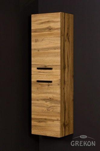 Regał łazienkowy loftowy kolor dębu 40x144cm z koszem, Gante Fokus Loft