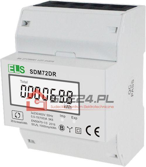 WSKAŹNIK ENERGII 3 FAZOWY 100A SDM72DR + RESET