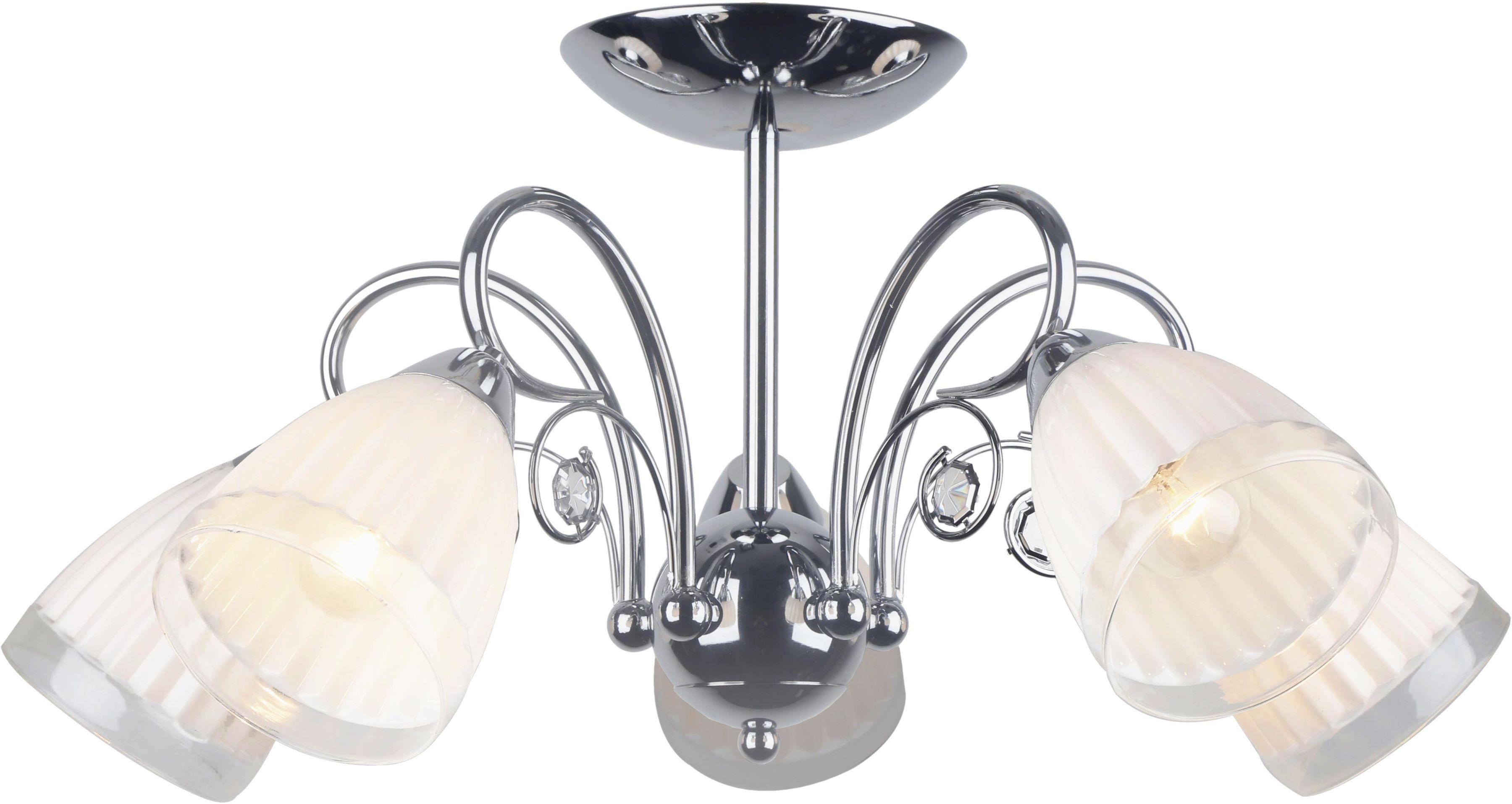 Lampex Nola 5 448/5 plafon lampa sufitowa falisto mleczno-biały klosz 5x40W E14 58cm