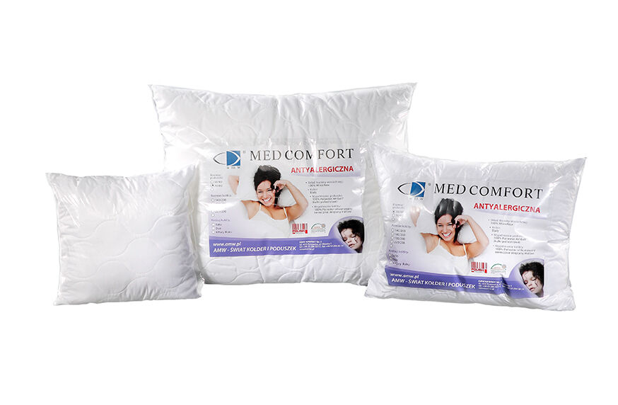 Poduszka antyalergiczna 40x40 Med Comfort 0,25 kg biała 100% microfibra AMW