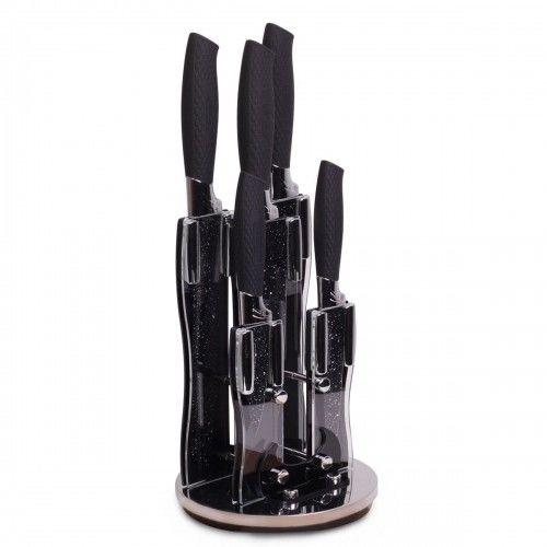 Zestaw noży w stojaku czarny marmur 6el.