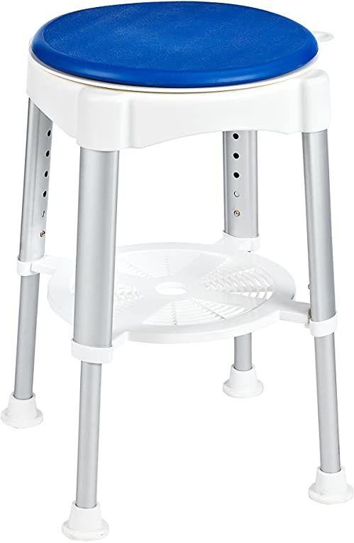 RIDDER Assistent A0050401 taboret łazienkowy, taboret łazienkowy, taboret z obrotową powierzchnią do siedzenia, biały