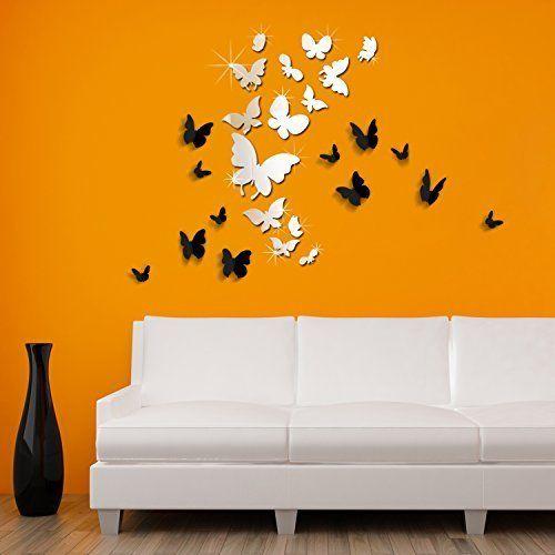 Walplus WSM2057 14 lustrzane motyle Plus WS1008 Walplus 3D czarny motyl sztuka ścienna murale żłobek biuro dekoracja domu