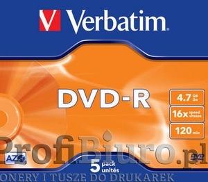 Płyty Verbatim DVD-R 4,7GB 16x - Jewel Case- 5szt.- Matt Silver