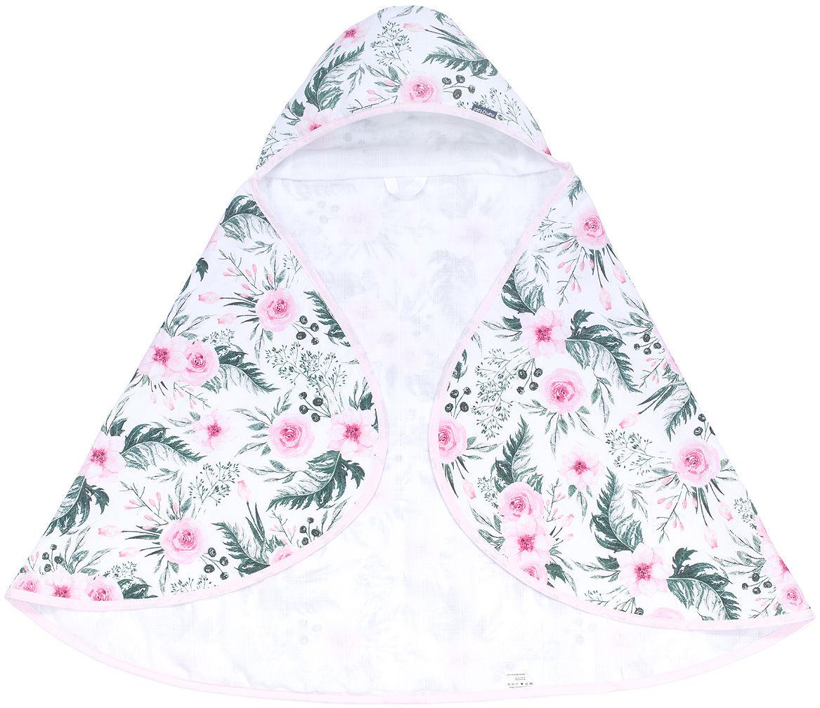 MAMO-TATO Otulacz okrycie kąpielowe ręcznik muślinowy dla niemowląt z kapturkiem - Różany ogród / biały