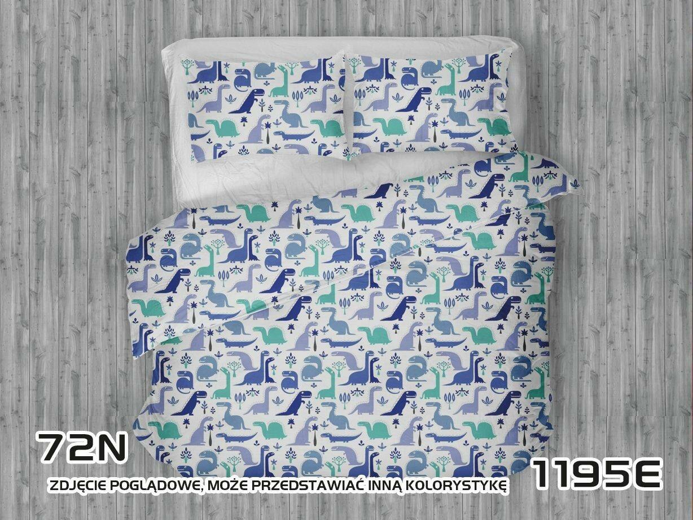 Pościel bawełniana 100x135 1195E biała Dinozaury niebieskie szafirowe turkusowe