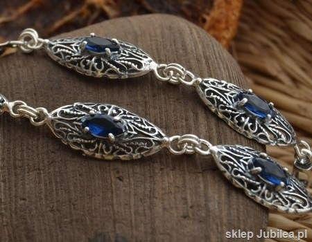 Malakka - srebrna bransoletka z szafirami