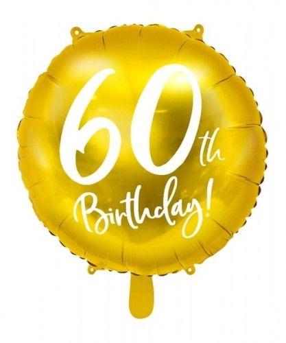 Balon foliowy na 60 urodziny, 60th Birthday, złoty