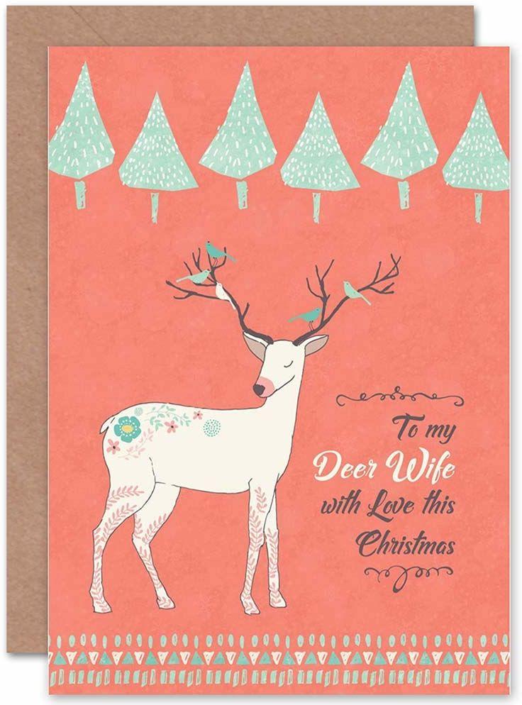 """Wee Blue Coo Kartka bożonarodzeniowa """"Deer Dear Dear Wife"""""""