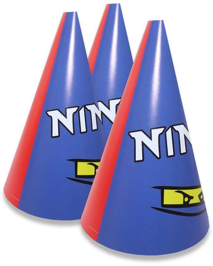 Czapeczki papierowe Ninja - 6 szt.