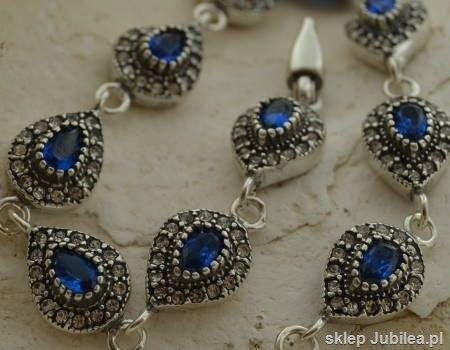 Szafirowe łzy - srebrna bransoleta z szafirami