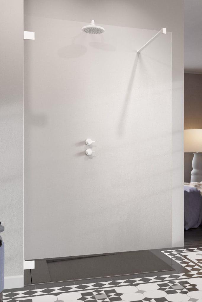 Radaway kabina ESSENZA PRO WHITE Walk-In 125 cm, wys. 200 cm szkło przejrzyste 6 mm 10103125-04-01