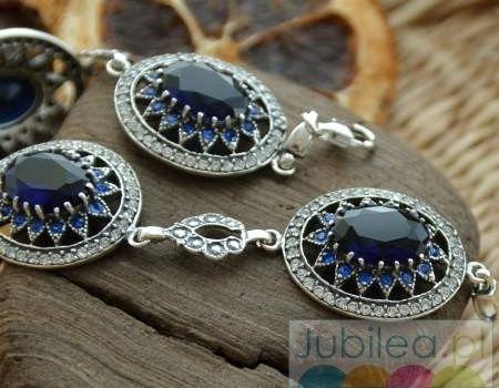 Liria - srebrna bransoleta z szafirami i krysztalk