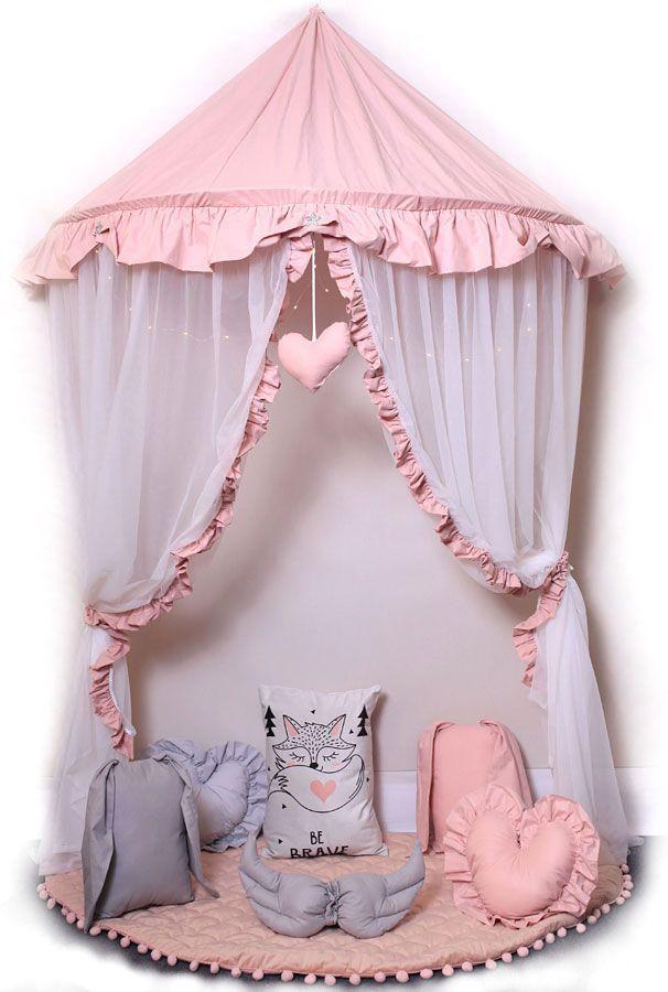 Różowo-biały baldachim dla dziecka z 6 poduszkami i matą - Sentopia 4X