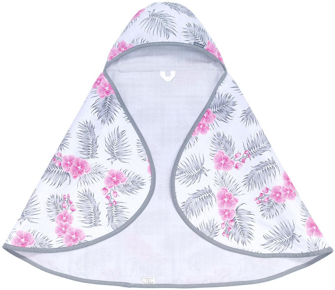MAMO-TATO Otulacz okrycie kąpielowe ręcznik muślinowy dla niemowląt z kapturkiem - Kwiaty / popiel