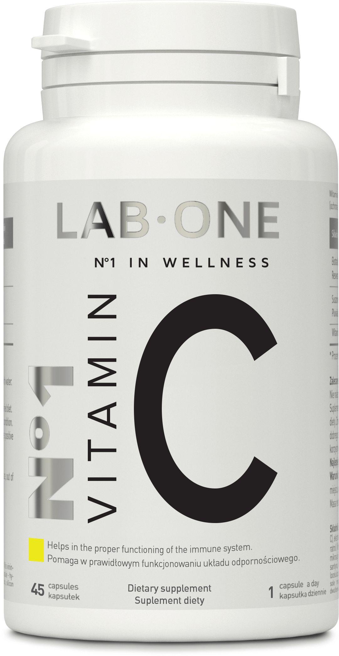 LAB ONE N1 Vitamin C (Witamina C, Odporność) 1000mg 45 Kapsułek