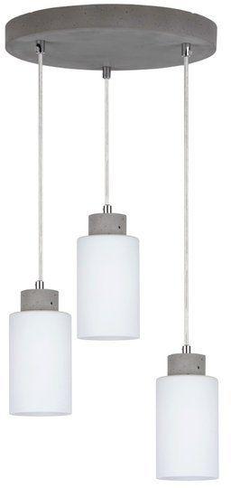 Lampa wisząca KARLA 3-punktowa lampa o szarej betonowej podstawie zakończona białymi kloszami 9160336R