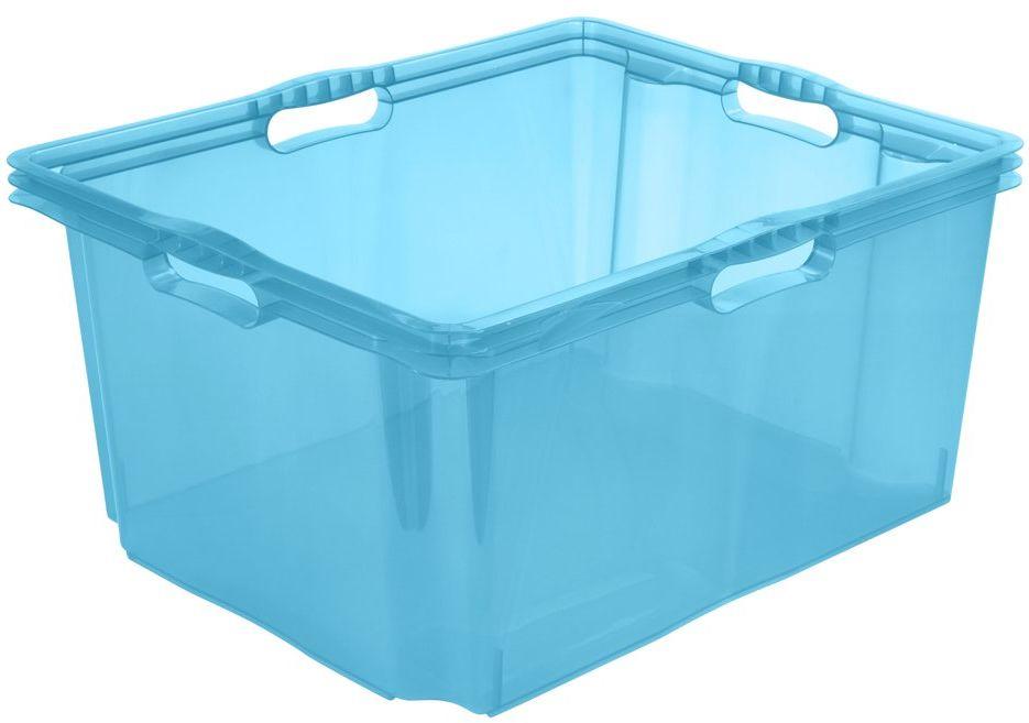 keeeper Pudełko do przechowywania z wbudowanymi uchwytami, rozmiar: XXL, 52 x 43 x 26 cm, 44 l, Francja, Niebieski przezroczysty