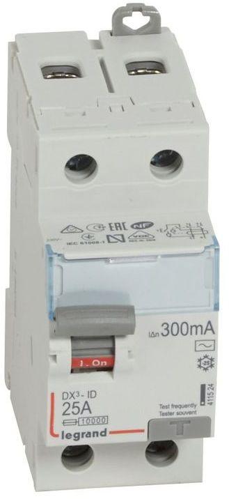 Wyłącznik różnicowoprądowy 2P 25A 0,3A typ AC P302 DX3 411524