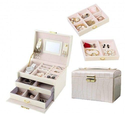 Kuferek na biżuterię z małym lusterkiem i szufladkami eko skóra aligatora