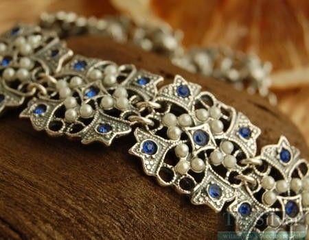 Panama - srebrna bransoleta z szafirami i perłami