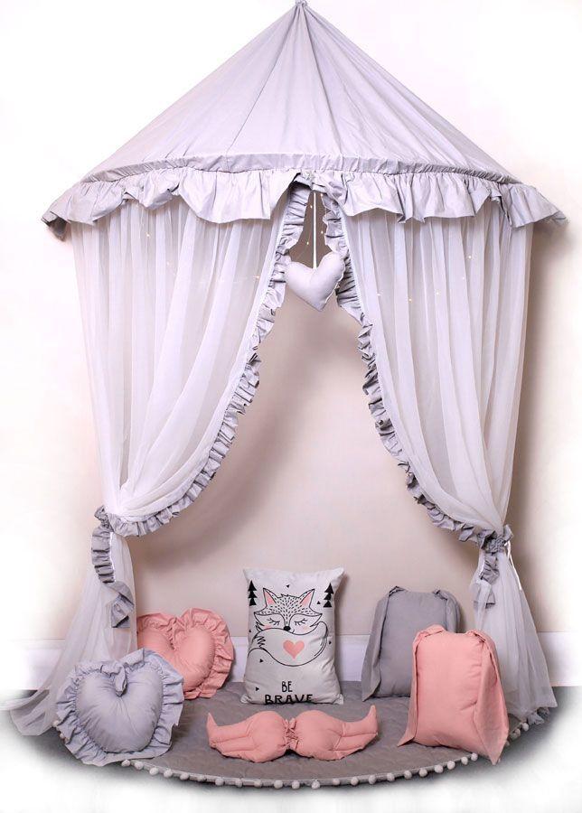 Szaro-biały baldachim dziecięcy nad łóżko - Sentopia 4X