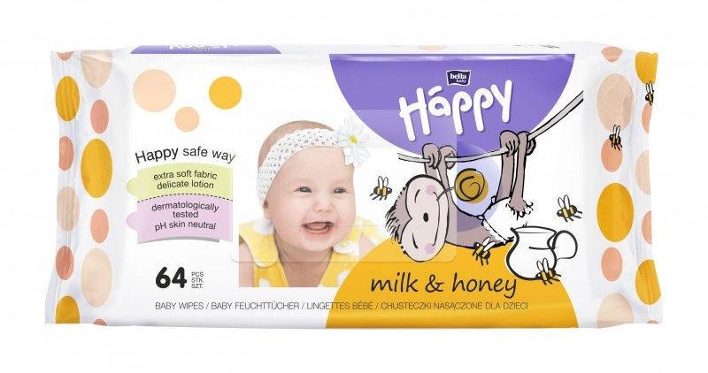 Bella Happy chusteczki mleko i miód, 64 szt.