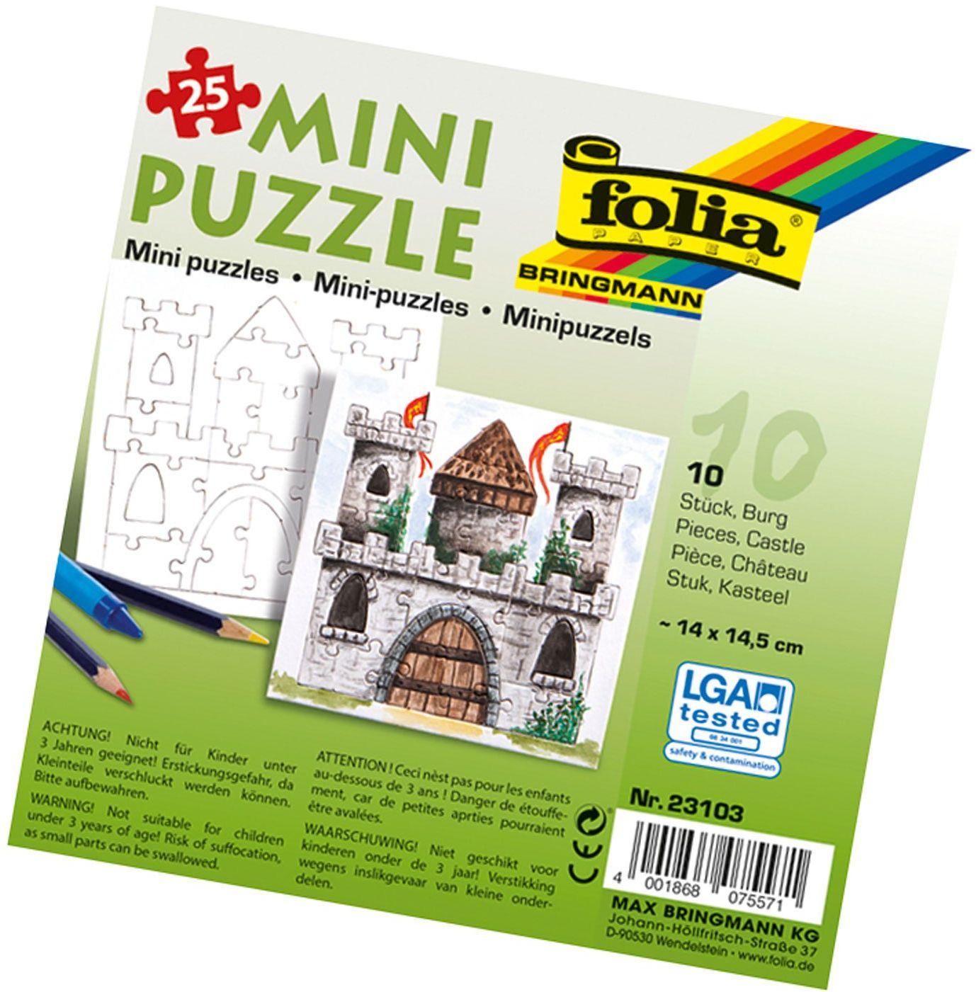 folia 23103 - mini puzzle zamek, ok. 14 x 14,5 cm, 25 części, 10 sztuk, białe - dopiero potem malowanie, dla dzieci, chłopców i dziewczynek