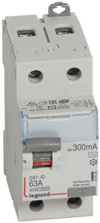 Wyłącznik różnicowoprądowy 2P 63A 0,3A typ AC P302 DX3 411526