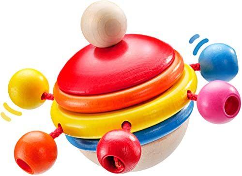 Selecta 61068 Rotondo, kręcąca się zabawka z drewna, 7,5 cm
