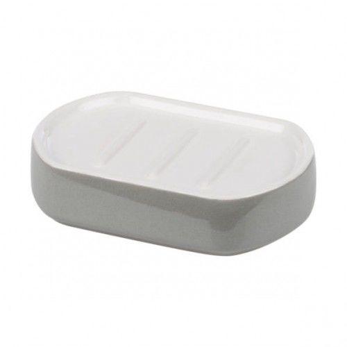 Ceramiczna mydelniczka biel+szary, Bora