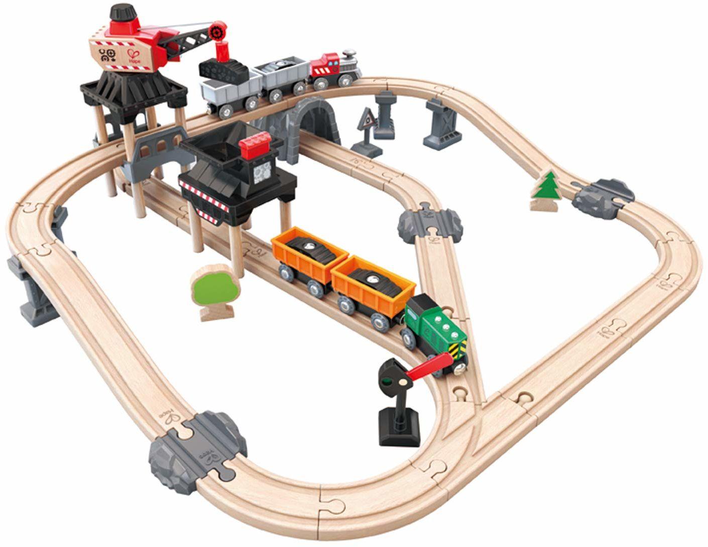 Hape E3756 zestaw drewnianych pociągu do ładowania górniczego