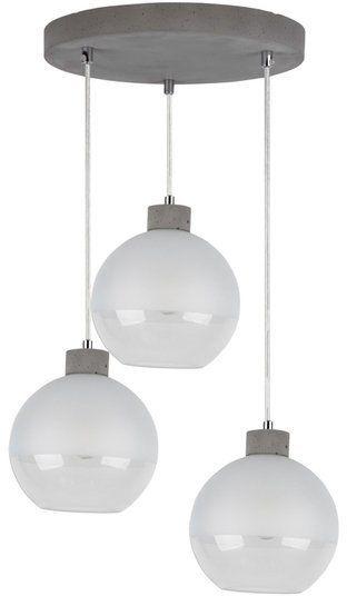 Lampa wisząca FRESH 3-punktowa szklane klosze, oprawa betonowa kolor szary, 1860336R