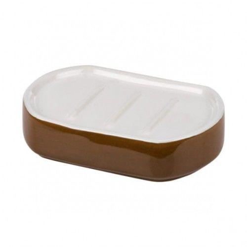 Ceramiczna mydelniczka biel /brąz,Bora