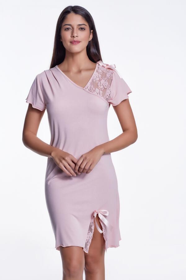 Bambusowa koszula nocna damska ZARA Różowy
