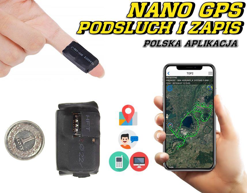 Lokalizator NANO GPS Tracker PL z Podsłuchem na żywo (zapis nagrań)