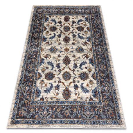 Dywan SOFT 6019 KWIATY RAMKA beż / niebieski / czerwony 80x150 cm
