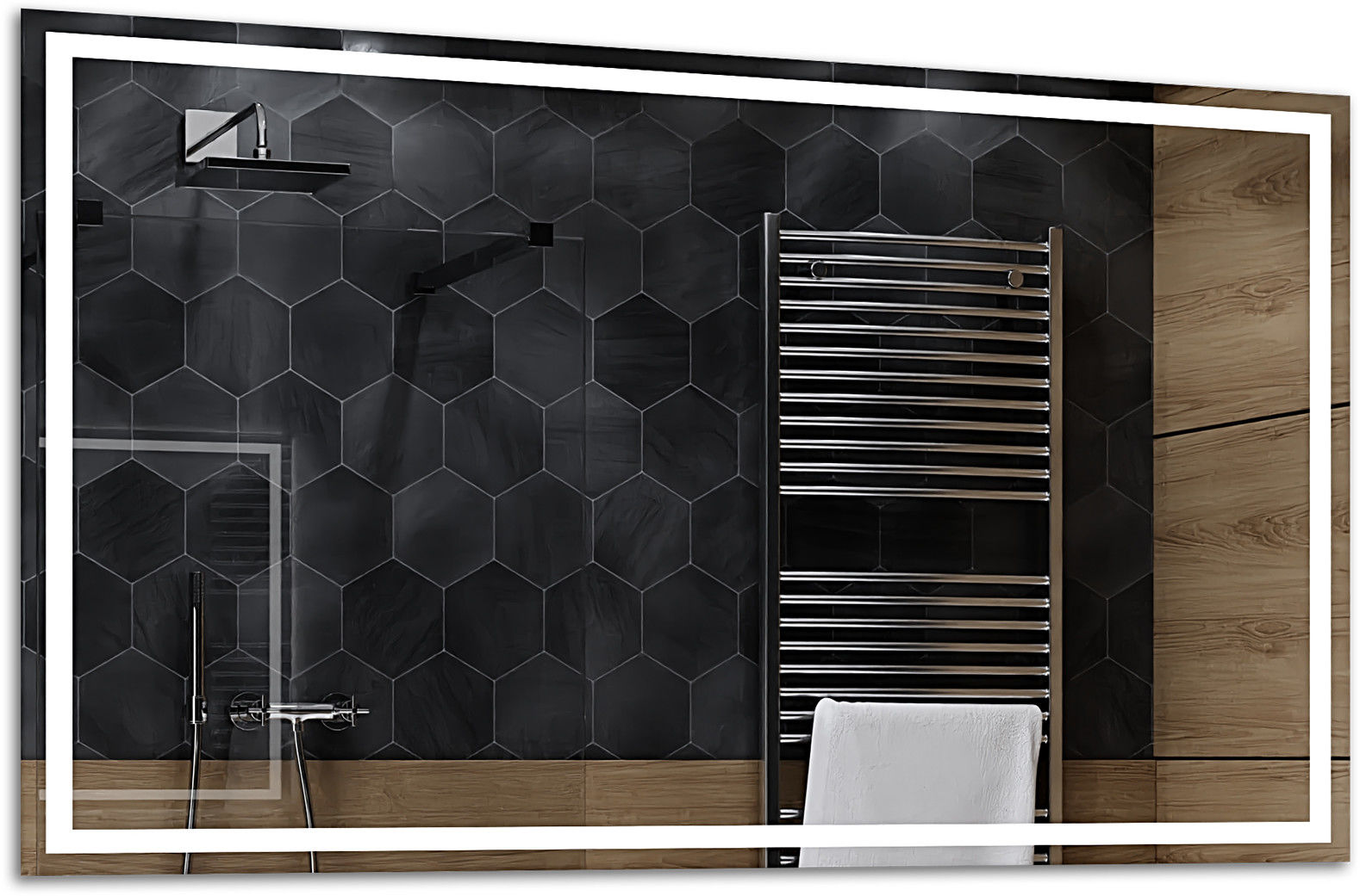 Alasta Lustro Łazienkowe z Podświetleniem LED - rozmiar 80x60cm - zimny kolor LED - Model Atlanta